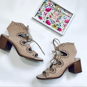 MOSSIMO Faux Suede block heel sandals tan
